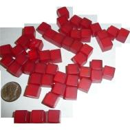 Prystal Red Bakelite Tiny Dice Cubes Undotted New Old