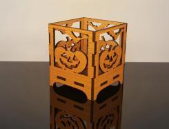 Pumpkin Candle Holder Halloween Wooden