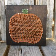 Pumpkin String Art Wood Block Sign Thanksgiving Fall Autumn