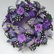 Purple Deco Mesh Wreath Zebra Print Glitter Polka