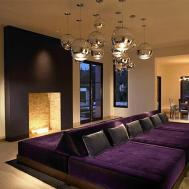 Purple Velvet Sofa Gray Pillow Bed Placed