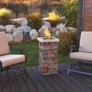 Real Flame Sedona Fiber Cast Concrete Propane Fire Column