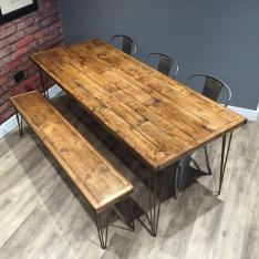 Reclaimed Industrial Pallet Wood Dining Table Metal