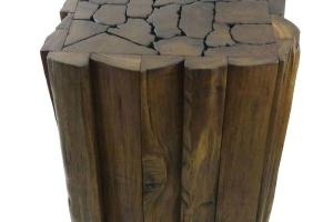 Reclaimed Teak Wood Jigsaw Stool Accent Table Thailand