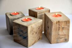 Reclaimed Wood Candle Holder Industrial Rustic Pallet