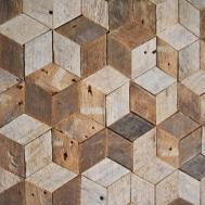 Reclaimed Wood Wall Art Decor Pattern Lath Cube