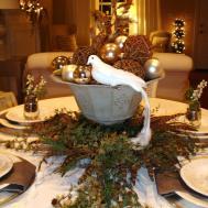Rectangle Table Under White Shade Pendant Lamp Garnished