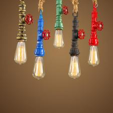Retro Vintage Rope Water Pipe Pendant Lights Industrial