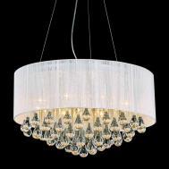 Round Modern Chandelier Lighting White Drum Shades