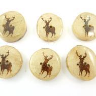 Rustic Birch Wooden Painted Deer Buttons Hand Cut