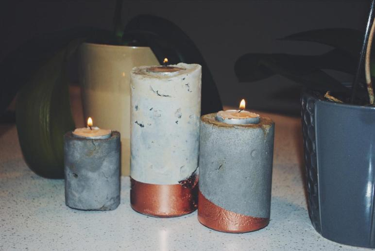 Rustic Cement Candle Holders Live