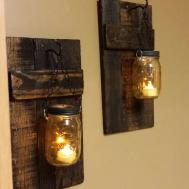 Rustic Wood Candle Holder Decor Sconce