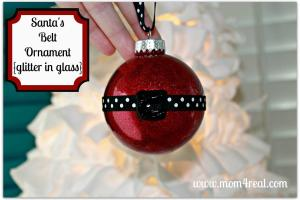 Santa Belt Ornament Glitter Glass Mom Real