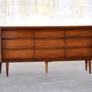 Select Modern Mid Century Triple Dresser Credenza