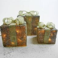 Set Led Light Glitter Christmas Present Parcel Box