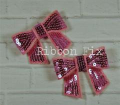 Set Pink Sequin Bows Hair Valentine
