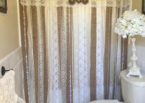 Shabby Rustic Chic Burlap Shower Curtain Lace Ruffles
