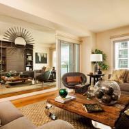 Shape Black Leather Sofa Animal Rug Elegance