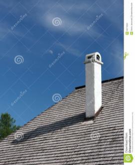 Shingle Roof Chimney Moon Stock