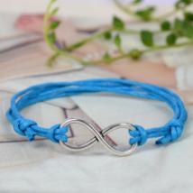 Silver Infinity Pendant Wax Rope Diy Bracelet Friendship