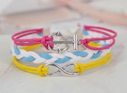 Silver Tone Infinity Anchor Charm White Blue Weave Korean