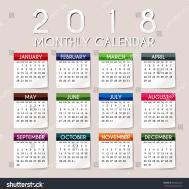 Simple 2018 Year Vector Calendar Stock