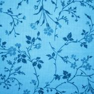 Sky Blue Floral Print Fabric Texture