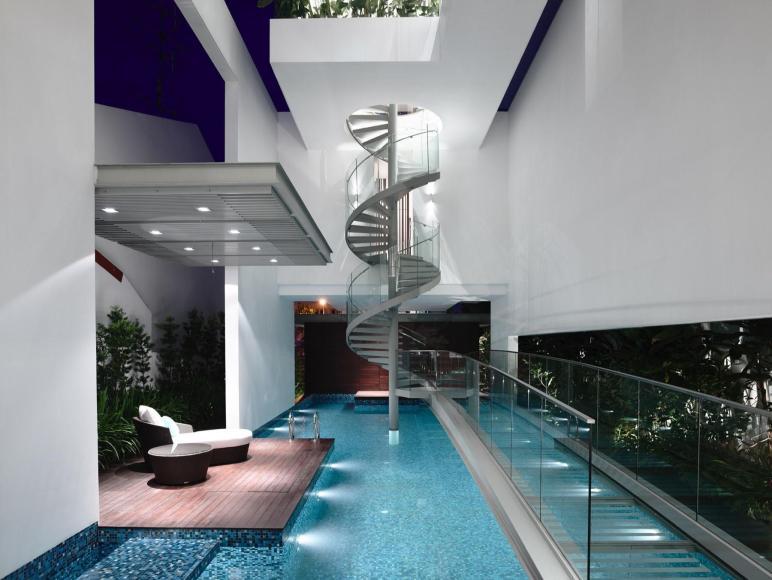 Sleek Modern Home Singapore Glass Bridge Over Pool