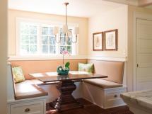 Small Breakfast Nook Design Rectangular Pedestal Oak