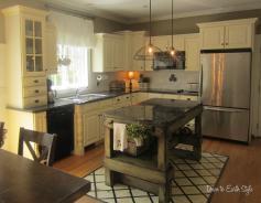 Small Shaped Kitchen Design Island Earth Tone
