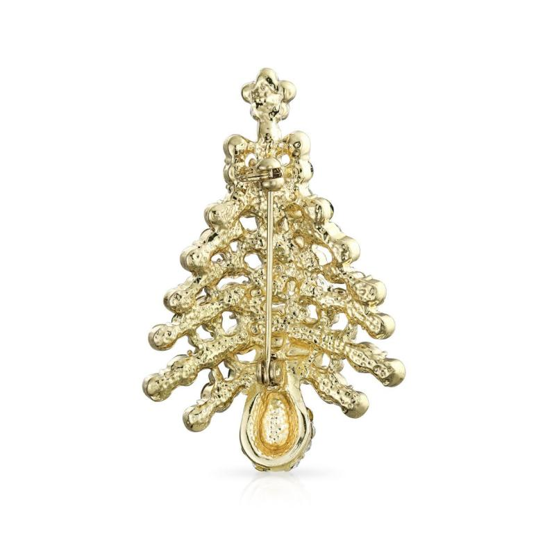 Sparkling Christmas Tree Brooch Gold Plated Alloy