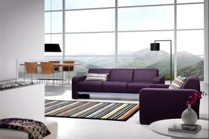 Striped Rug Purple Leather Sofa Contemporary