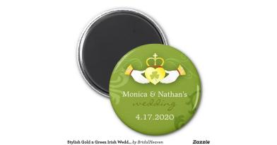 Stylish Gold Green Irish Wedding Invitation Round