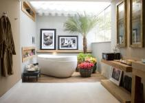 Stylish Tropical Bathrooms Teak Vanity Modern