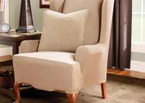 Sure Fit Stretch Stripe Wingback Chair Cushion Slipcover
