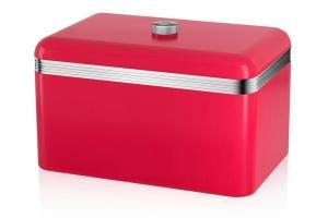 Swan Stylish Rectangular Red Retro Bread Bin Food Kitchen