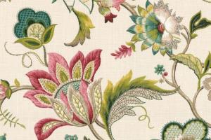 Teal Pink Floral Fabric Fleur Leaf Blossom