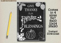 Thanksgiving Sign Chalkboard Digital Give