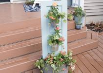 Three Tiered Outdoor Planter Extract Diy Rustic