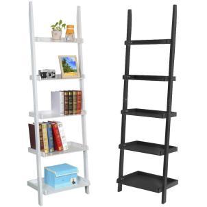 Tier Leaning Ladder Shelf Bookcase Bookshelf Wooden