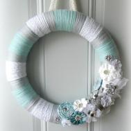Tiffany Blue White Gray Yarn Wreath Sparkle