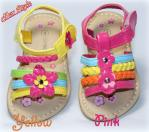 Toddler Girls Sandals Strappy Floral Rainbow Yellow