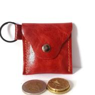 Token Coin Purse Red Leather Keychain