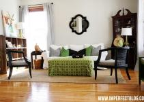 Top Green Black White Living Room