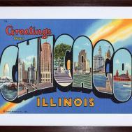 Tourism America Travel Greetings Chicago Postcard Framed