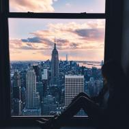 Travel Skyline New York Window Girl City