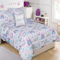 Trendy Purple Blue White City Themed Bedding Set