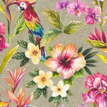 Tropical Parrot Floral Birds Metallic Effect