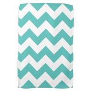 Turquoise Chevron Zigzag Kitchen Towels Zazzle