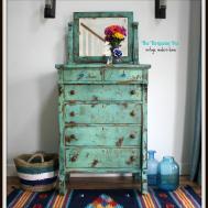 Turquoise Iris Furniture Art Heavily